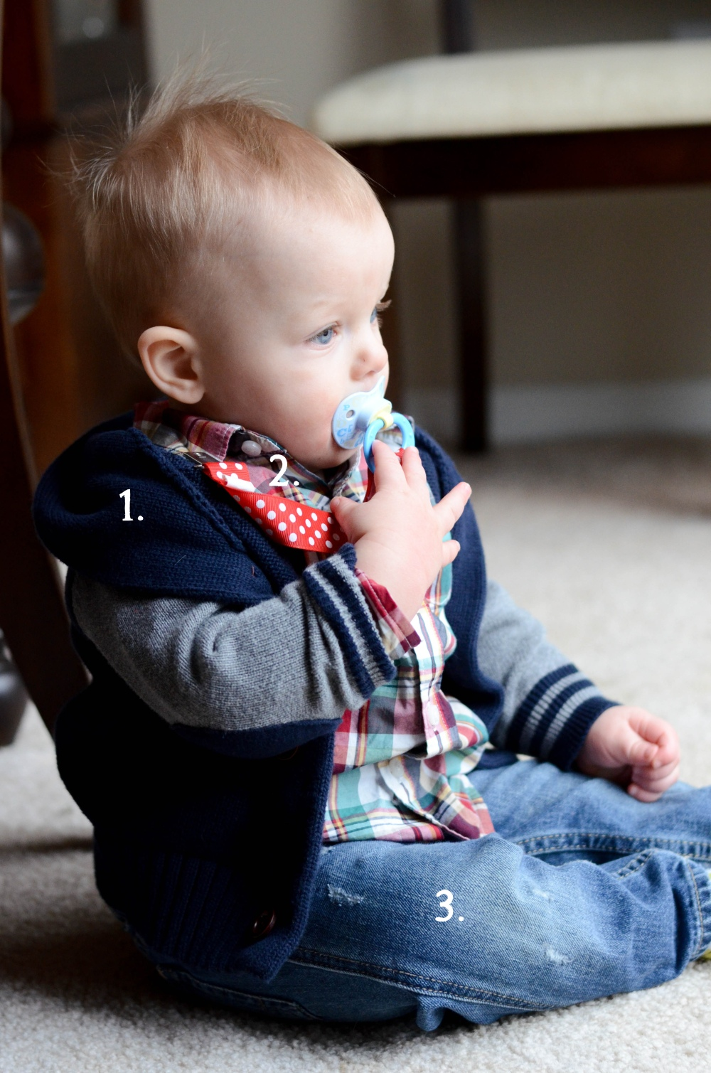 1. Gap Outlet: Navy and Gray patched cardigan 2. Janie and Jack: Multicolored Button Down 3. Gap: Distressed Baby Jeans