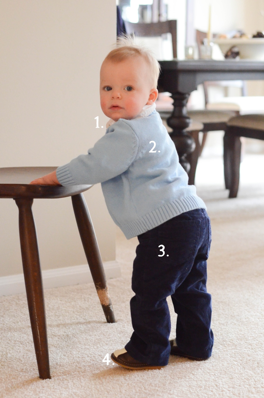 1. Carters: White Oxford Onesie Shirt 2. Consignment Sale: Childrens place light blue sweater 3. Target: Navy Corduroy Jeans 4. Zulily: Brown and White Squeaker Loafers
