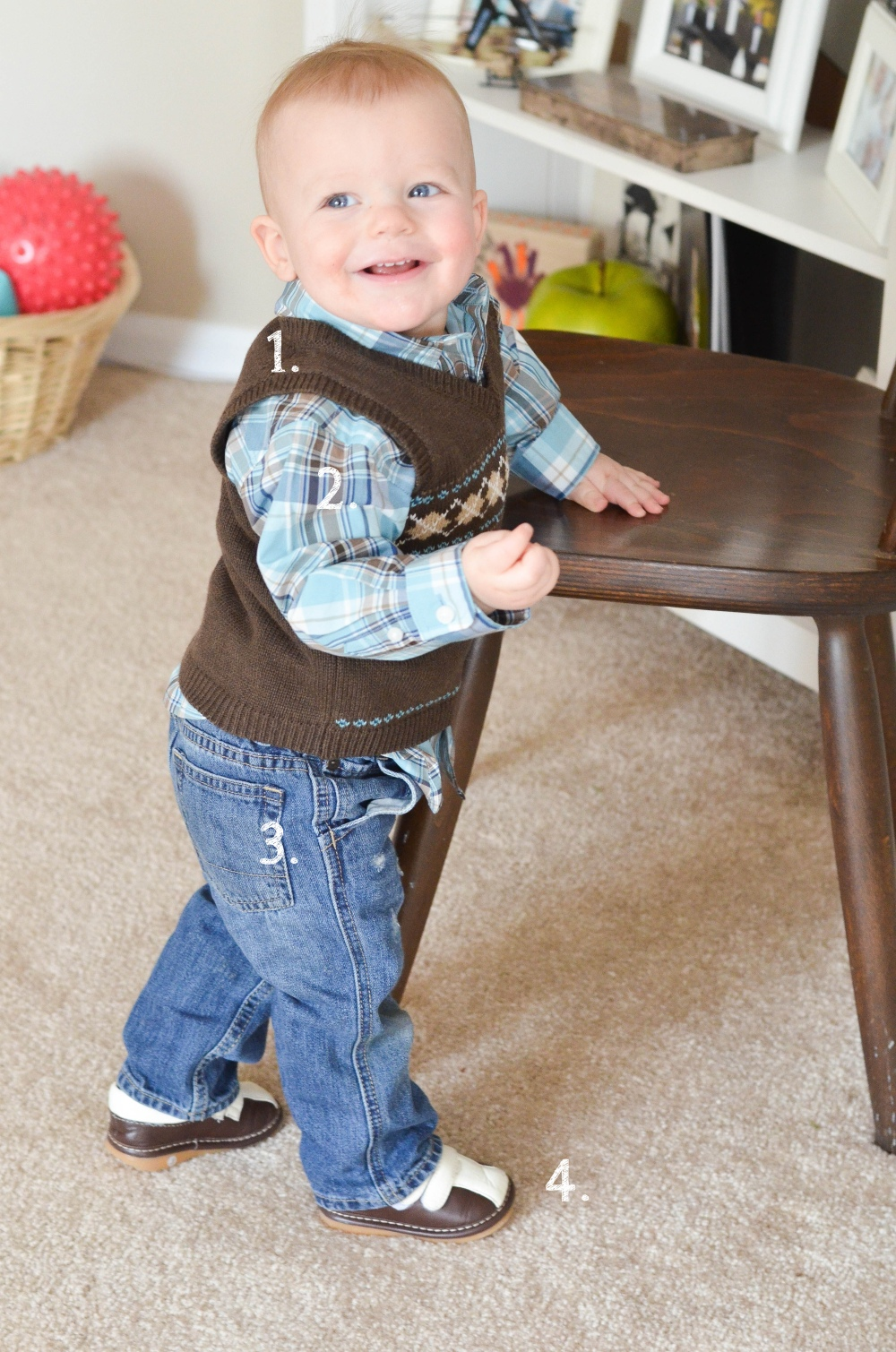 1. Janie and Jack Button Down 2. Janie and Jack Sweatervest (he's confident enough to rock a vest) 3. Gap distressed jeans 4. Zulily squeaker loafers